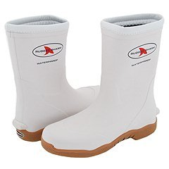 Boot Boat Fishing - Rugged Shark Premium Fishing Deck Boot with All-Day Comfort Footbed 10M, white
