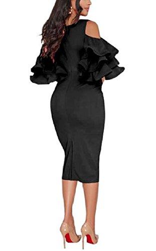 Jaycargogo Femmes Sexy Col V Épaule Manches À Volants Froid Mince Robe Midi Cocktail Noir