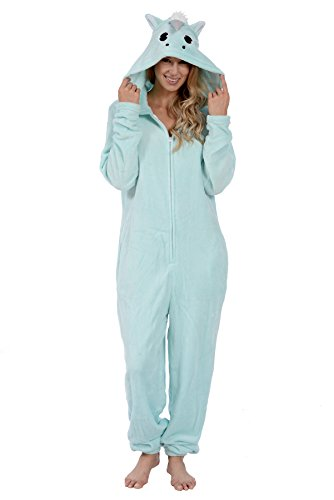 Body Candy Women's Plush Adult Animal Hood Onesie Pajama (Unicorn Magic, Large) -
