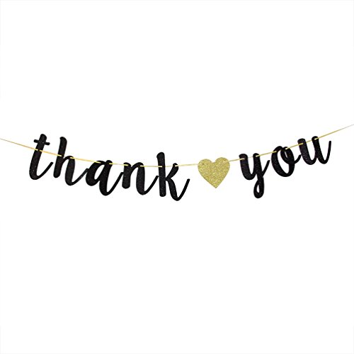 Black Glitter Thank You Banner - Engaged - Wedding - Bridal Shower Bunting Thanksgiving Photo Booth -
