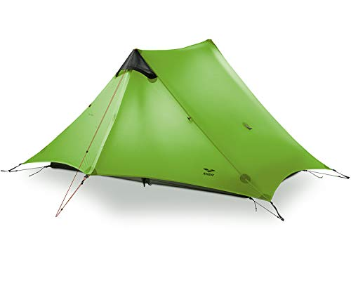 MIER Ultralight Tent 3-Season Backpacking Tent for 1-Person or 2-Person Camping, Trekking, Kayaking, Climbing, Hiking (Trekking Pole is NOT Included), Green, 2-Person
