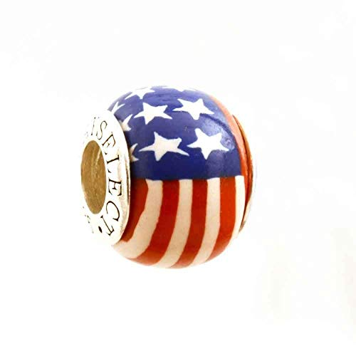 - American Flag Stars and Stripes Support the Troops Awareness Bead Charm for Add-A-Bead Bracelets Clay & Sterling Silver by MAYselect