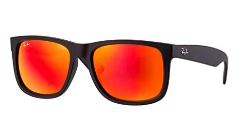 Ray-Ban RB4165 JUSTIN 622/6Q 55M Rubber Black/Brown Mirror Orange Sunglasses For Men For Women]()
