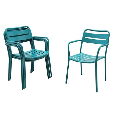 Aluminum Stack Chairs 4-Pack, Blue - Aluminum Sling Glider