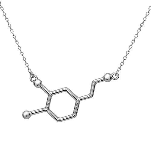 Dopamine Molecule Necklace by Silver Phantom Jewelry