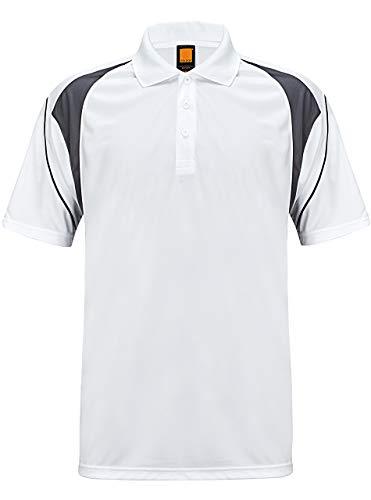 GEEK LIGHTING Men's Dri-fit Short Sleeve Polo Shirt(White,XL)