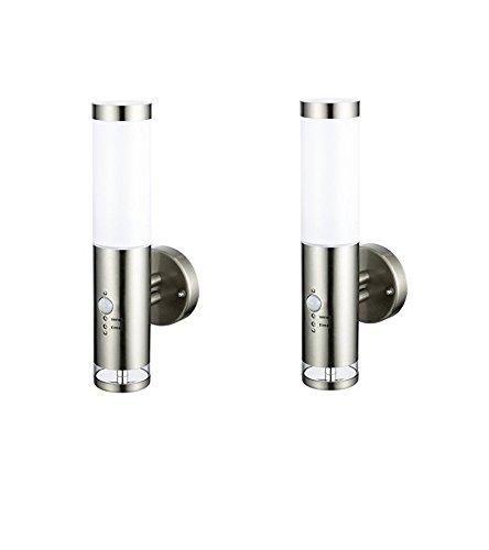 2 x Edelstahl LED Außenwandleuchte - Wandleuchte Lisa 2 mit Hauptlicht und Grundlicht und Bewegungsmelder, Außenlampe Außenleuchte [Energieklasse A+] Dapo