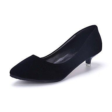 Talones de las mujeres Zapatos Primavera Verano Otoño Invierno club Comfort PU Suede Oficina y vestido de la carrera ocasionales de tacón bajo Otros Negro Rosa gris que recorre Gray