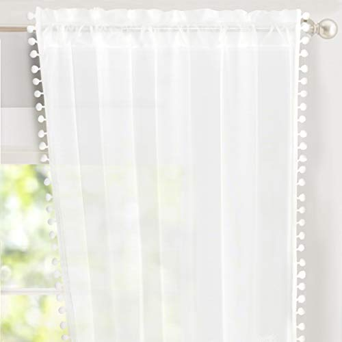 DriftAway Laura Pom Pom Trimmed White Voile Sheer Window Curtains Set of Two Panels, Rod Pocket, Each 52
