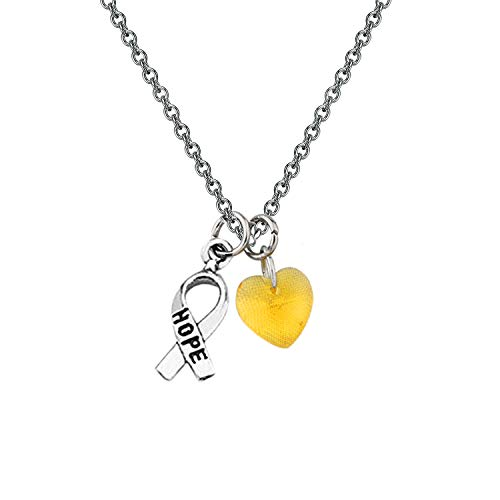 CHOROY Yellow Awareness Necklace with Hope Ribbon Charm Cancer Awareness Jewelry Gift for Endometriosis/Bladder Cancer/Suicide Prevention/Bone Cancer (Yellow Awareness -