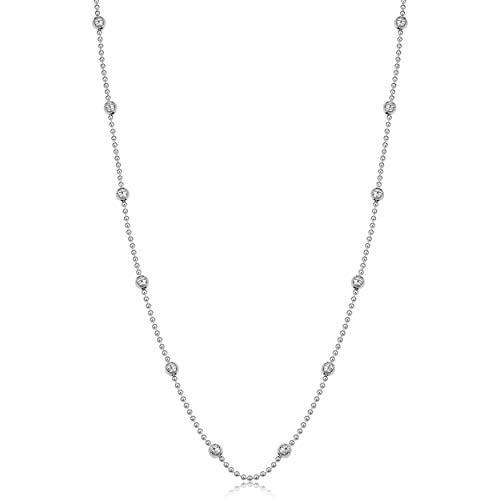 Sterling Silver Diamond Cut Bead - Kooljewelry Sterling Silver Bead and Diamond-Cut Ball Station Necklace (20 inch)
