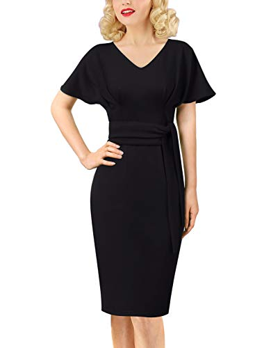 (VFSHOW Womens Vintage Kimono Sleeve Pleated Work Business Church Sheath Dress 883 BLK L)