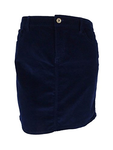 (Tommy Hilfiger Womens Corduroy Ribbed Mini Skirt Navy)