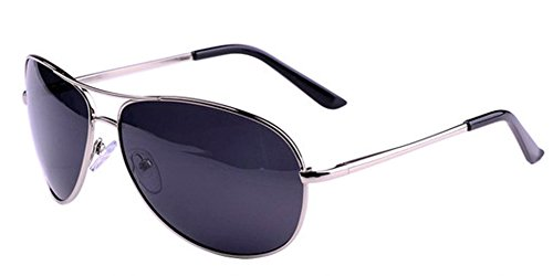 Gray Polarized Lens Silver Frame (Aoron Men's Classic UV400 Protection Silver Metal Frame Gray Lens Polarized Aviator)
