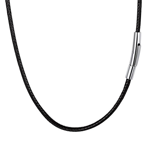 U7 Black Leather Cord Necklace with Stainless Steel Clasp, Men Women 3mm Wide Woven Wax Rope Chain for Pendant, Length 30 Inch