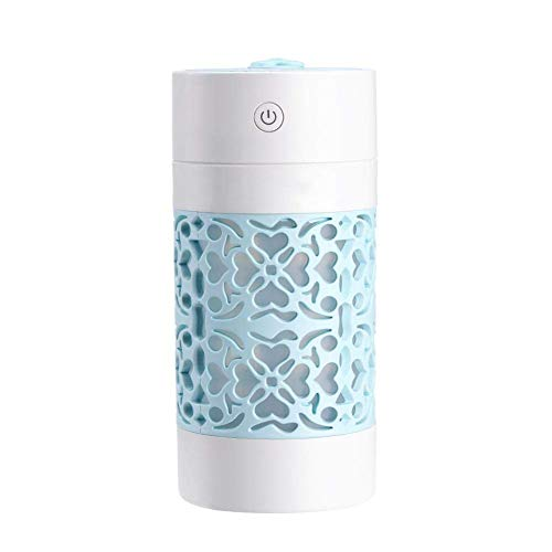 CCLAY 3 in 1 250ml Essential Oil Diffuser Ultrasonic Aroma Aromatherapy Diffusers with Fan & Night Lights, Portable USB Diffuser Car Humidifiers Use,Blue
