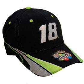 NASCAR 2015 Crispy Kyle Busch #18 MMS M&Ms Joe Gibbs Racing Black with Green Silver White Highlights Hat Cap One Size Fits Most OSFM with Adjustable Strap