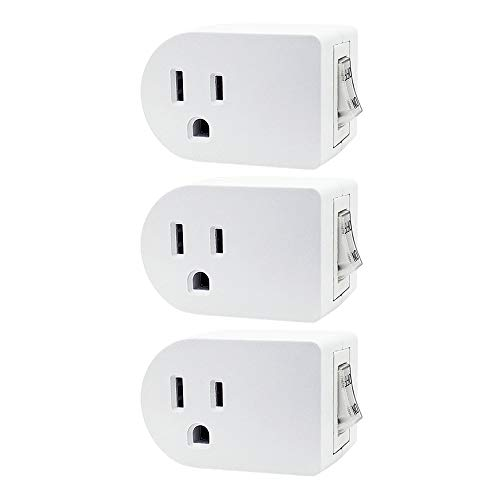 Uninex PS27 Single Grounded Outlet On/Off Power Switch with Amber Light, ETL Listed, White, 3-Pack