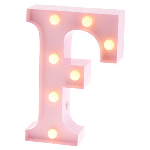 """Lamp Alphabet (Barnyard Designs Metal Marquee Letter F Light Up Wall Initial Nursery Letter, Home and Event Decoration 9"""" (Baby Pink))"""