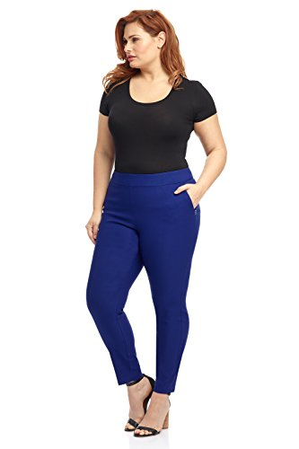 (Rekucci Curvy Woman Ease in to Comfort Skinny Plus Size Pant w/Tummy Control (18W,Sapphire))