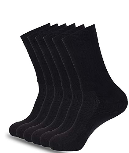 1Sock2Sock Men's Athletic Crew Socks Performance Cushioned Cotton Moisture Wicking And Arch Support 6 Pack