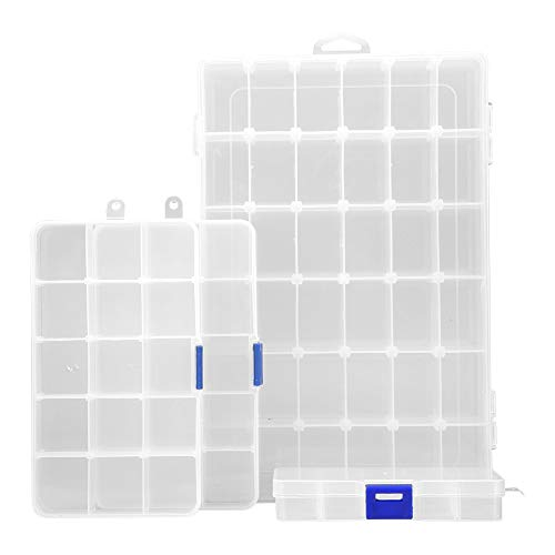 AIMEI Jewelry Organizer,Plastic Jewelry Box/4 pack Organizer Storage Container with Adjustable Dividers(1pc 36 Grids/2pcs 15 Grids/1pc10 Grids) by AIMEI
