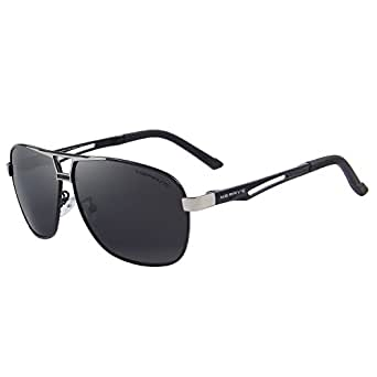 MERRY'S HD Polarized Sunglasses Men's Rectangle Driving Sun glasses S8758 (Black, 65)
