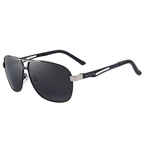 MERRYS HD Polarized Sunglasses Mens Rectangle Driving Sun glasses S8758 Black