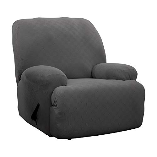 Stretch Sensations, Optic Jumbo Recliner Slipcover, Oversized Recliners, Perfect Chair Protection, Comfortable Easy Stretch Fabric (Grey)