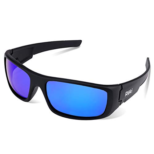 BEST Premium Unisex Polarized RE327 Unbreakable Frame Sports Sunglasses for Running Baseball Cycling Fishing Volleyball Driving Skiing Golf Traveling by Reki (Black With Revo Blue Lens)