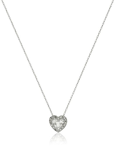 Baguette Heart Necklace - 10k White Gold Diamond Baguette Heart Pendant Necklace (1/10cttw, I-J Color, I2-I3 Clarity), 18