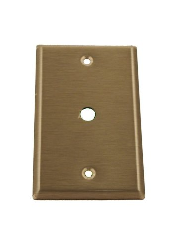 Leviton 84061-40 1-Gang .406 Inch Hole Device Telephone/Cable Wallplate, Standard Size, Box Mount, Stainless Steel