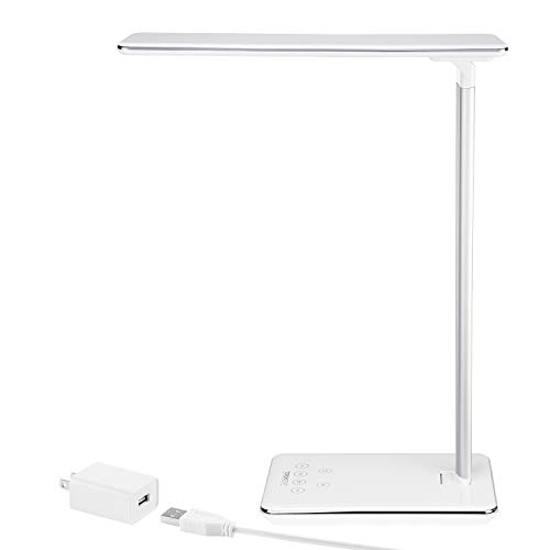 TORCHSTAR Dimmable LED Desk Lamp, Eye-Caring Table Lamp with USB Charging Port, Fully Adjustable Brightness, Touch Sensitive Control, 4 Lighting Modes, 1 & 2 Hour Auto Timer, Piano White Finish