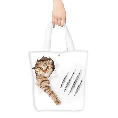 - Canvas Tote Bag Animal Funny Cat in Wallpaper Hole with Claw Scratches Playful Kitten Cute Pet Picture Brown White (W15.75 x L17.71 Inch)