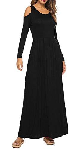 Jaycargogo Des Femmes De Manches Longues Élégant Épaule Froide Solide Noir De Poche De Robe Longue