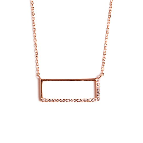 Delicate Necklace for Women Girls, 14K Rose Gold Plated, CZ Cubic Zirconia Crystal Bar Pendant, Fine Chain, Minimalist Jewelry(CZ Crystal Rectangle Necklace (Rose Gold (Halloween Row 14 2017)