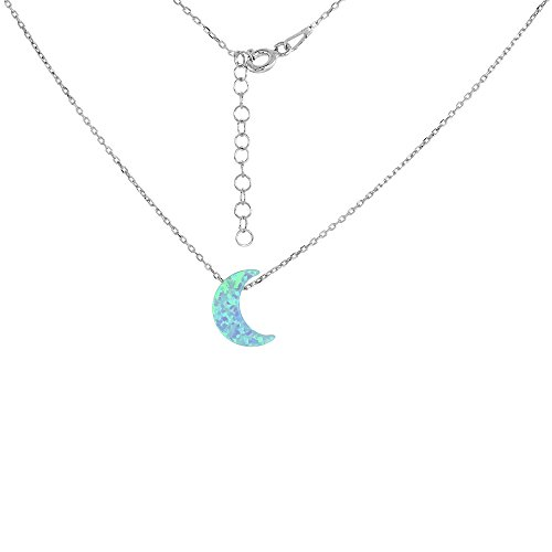 Sterling Silver Crescent Moon Necklace Synthetic Opal 16 inch + 2 inch Extension