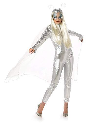 Alien Space Costume - Halloween Womens Futuristic Jumpsuit, Silver, Small