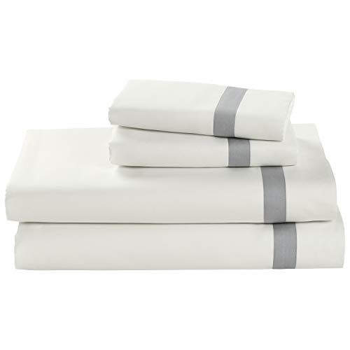 (Stone & Beam Banded 100% Percale Cotton Bed Sheet Set, Easy Care, King, Cloud)