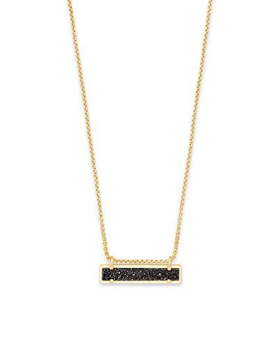 Gold Rectangular Pendant - Kendra Scott Leanor Black Drusy Stone Gold Rectangular Pendant Necklace
