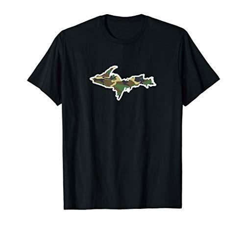 Mens Michigan Home Tshirt, Yooper Hunting Shirt, Camo Map Tee