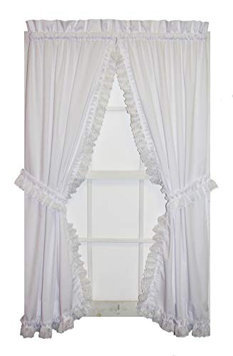 Window Toppers Cape Cod Priscilla Curtains Pair with Lace Ruffle and Tie Backs 56-Inch-by-63-Inch, White ()