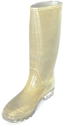 Donna Dev-14 Pozzanghere Pioggia E Neve Metà Polpaccio Stivali Impermeabili Scarpe Oro / Glitter