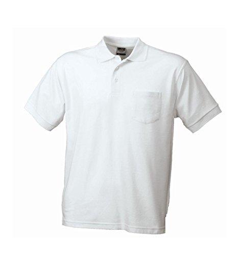cosido malla manga Polo de blanco corta con cosida 2store24 pecho bolsillo 1q7gw8R