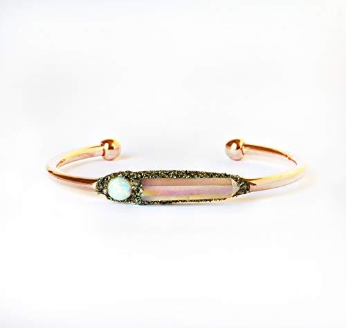Boho Raw Crystal Cuff Bracelet Jewelry with Gemstone Angel Aura Quartz and Birthstone Opal -