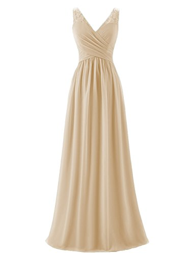 A-line V-Neck Chiffon Long Empire Bridesmaid Dresses Simple Prom Dresses (US2, Champagne)