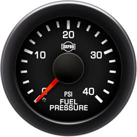 Isspro Pressure Gauge Fuel (ISSPRO R17055 EV² Fuel Pressure 0-40 - Full Kit, Black Face, Red Pointer, Green Backlight, Black Bezel, Black Hub)