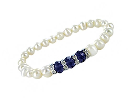 Linpeng Freshwater Pearl Stretch Bracelet W/September Birthstone Crystals and Zircon Spacers, White/Blue