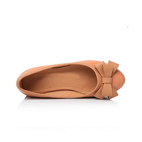 Closed Round UK Low Leather PU Bowknot Wedge Toe Apricot Pumps Patent 3 VogueZone009 Womens with Heel Solid 5pwxqpTE