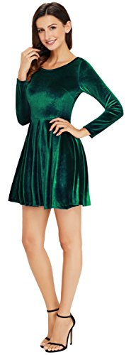 Annigo Velvet Dress for Women Long Sleeve Pleated New Years Eve Dress,Dark Green,Small by Annigo (Image #3)